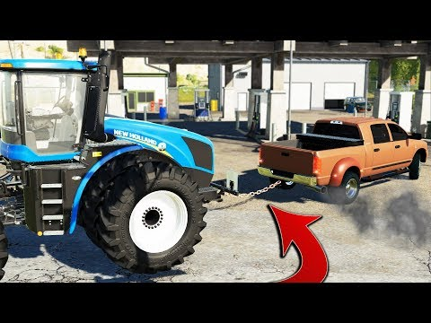 FS19- TOWING 4WD TRACTOR INTO GAS STATION (RAN OUT OF FUEL) | TOWING SERVICE