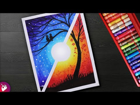 How to draw a Scenery - Moonlight Night VS Sunset scenery - Landscape scenery drawing