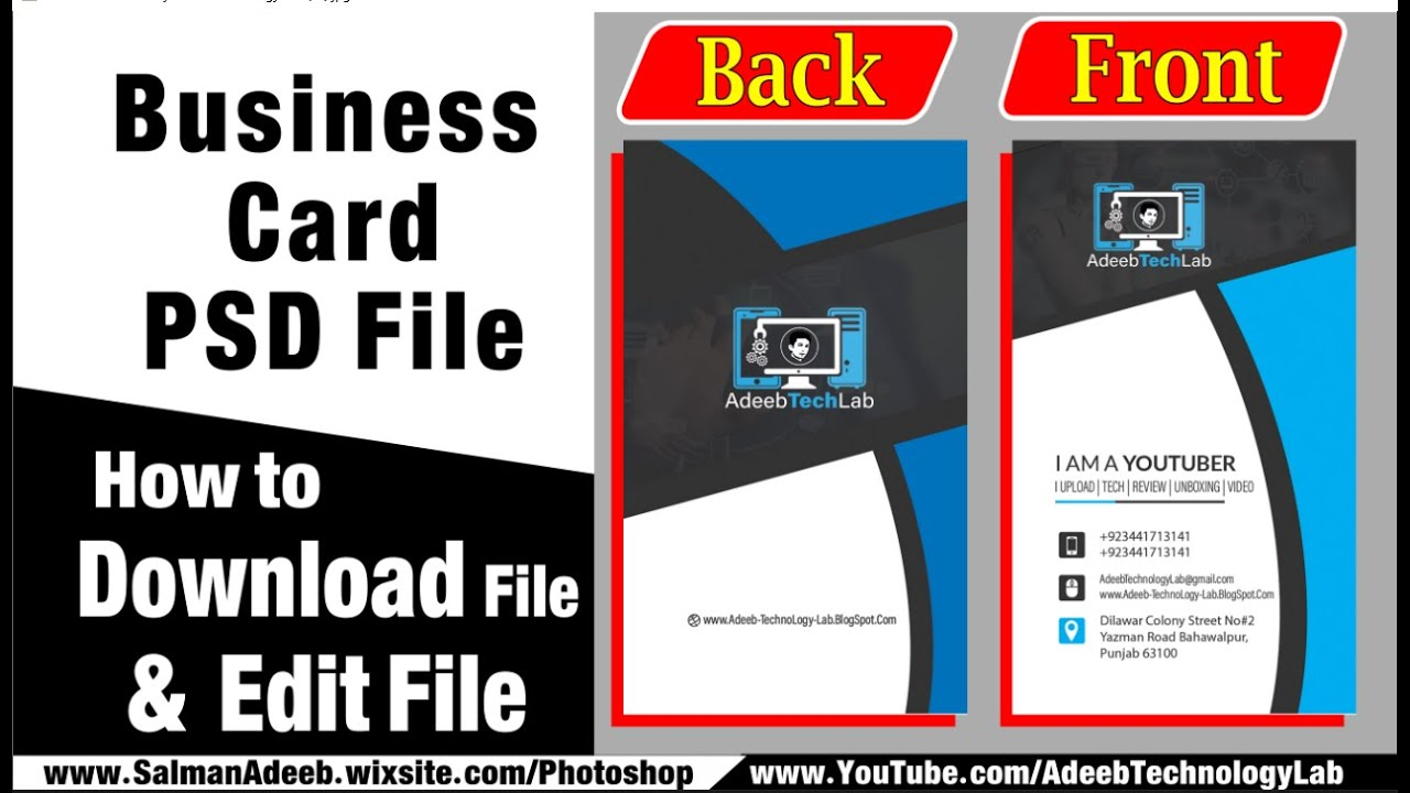 how to make business card in photoshop  photoshop  psd