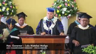 2016 ASCC Spring Graduation – Special Remarks by Honorable Governor Moliga