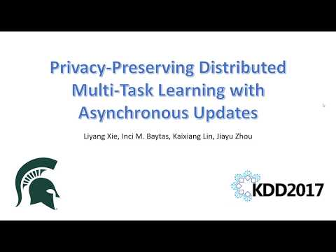 Privacy-Preserving Distributed Multi-Task Learning with Asynchronous Updates