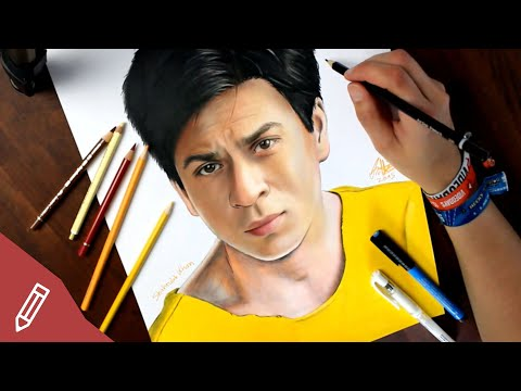 SPEED DRAWING: Shah Rukh Khan (Bollywood) REALISTIC PENCIL PORTRAIT | Zeichnen Mit Buntstiften