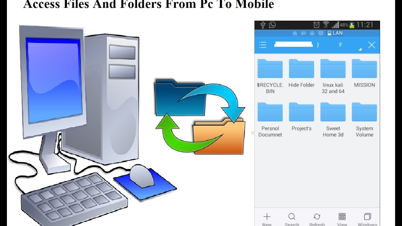 Share Files between an Android Mobile and a PC | WiFi (LAN) | With ES File  Explorer
