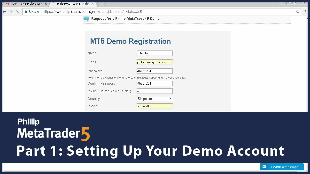 Phillip Mt5 Setting Up Your Demo Account Part 1 Youtube