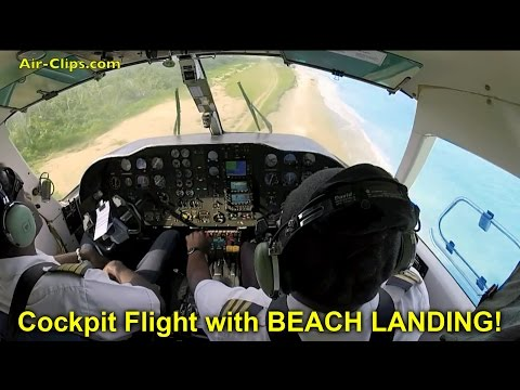 Air Vanuatu Harbin Y-12 COCKPIT flight, BEACH LANDING in PARADISE!!! [AirClips full flight series]