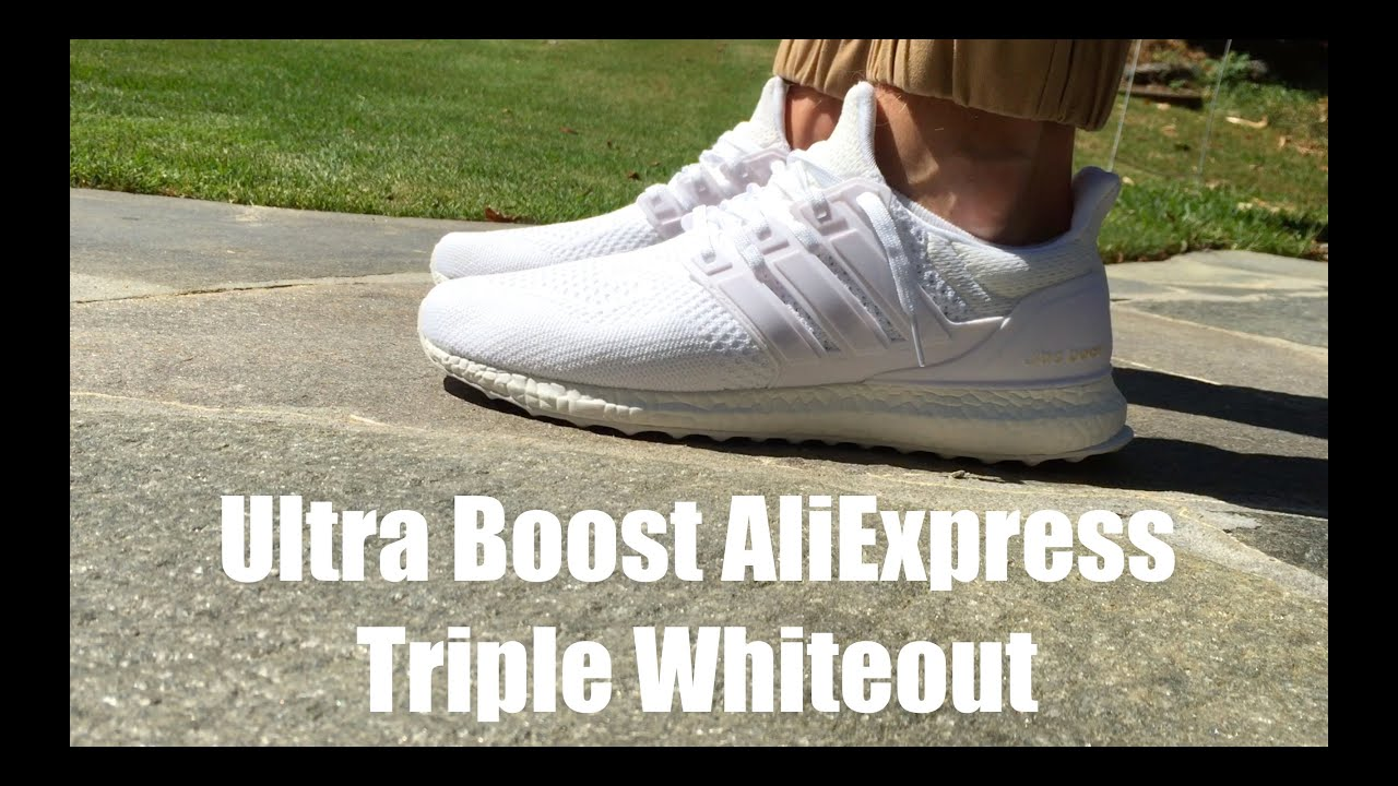 cd7b9dbba Adidas Ultra Boost Triple Whiteout AliExpress ( 40) - YouTube