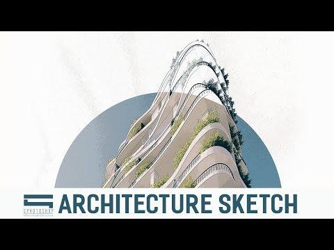 Architecture Sketch Concept - Photoshop Architecture thumbnail