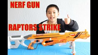 Ben uses Nerf Gun RAPTORS STRIKE to SHOOT ALL CUPS DOWN | Ben Toys And games