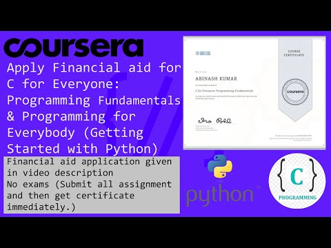 Coursera Financial aid application for C for Everyone & Python Programming for Everybody with pdf .