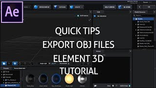 Quick tips:How Export Obj Files for Element 3D Tutorial