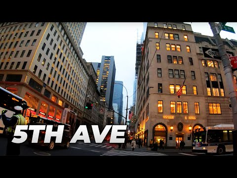 ⁴ᴷ⁶⁰ Walking NYC (Narrated) : Fifth Avenue from 60th Street to 23rd Street (Flatiron Building)