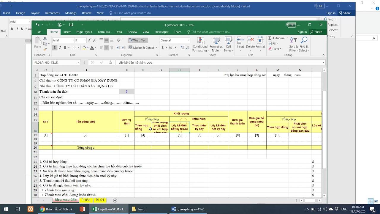 Tìm hiểu biểu mẫu 08b thanh toán khối lượng công việc hoàn thành so sánh điểm khác với Phụ lục 03a