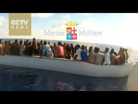 Italian Navy rescue migrants off Libyan coast