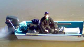 Launching the boat and breaking up the ice at Lake Texoma 2010