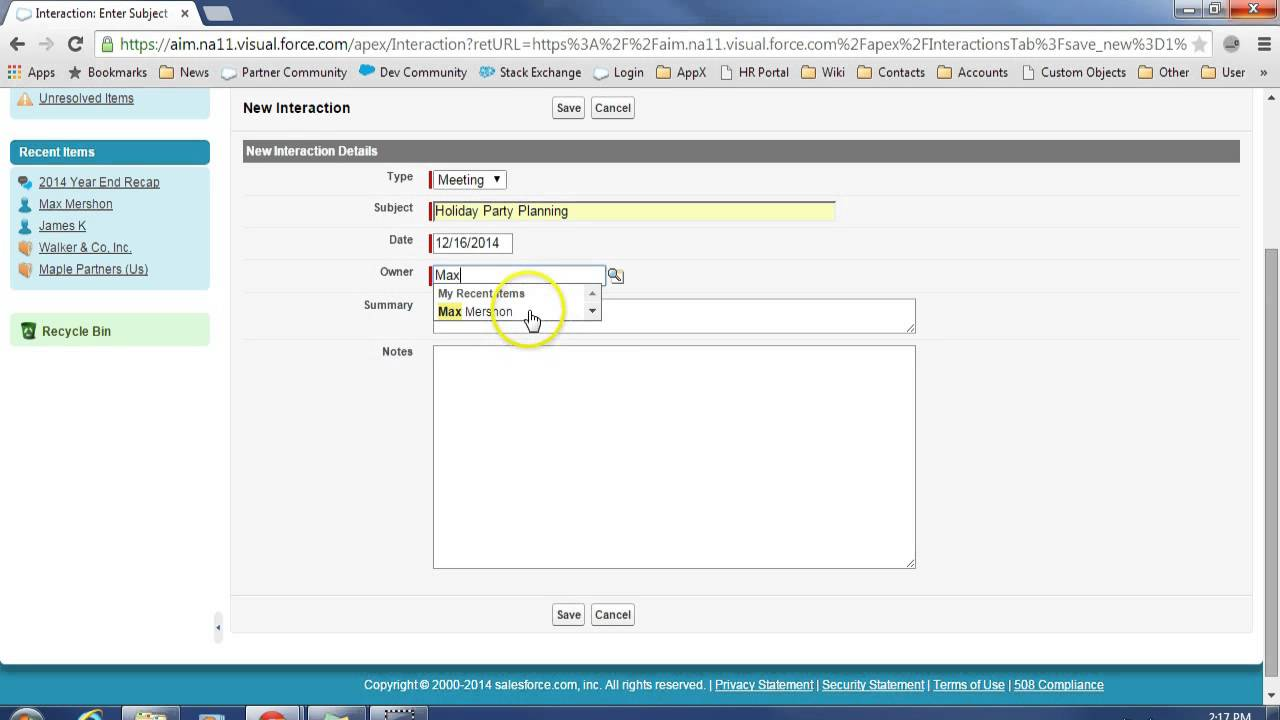 Private Equity CRM and Creating an interaction