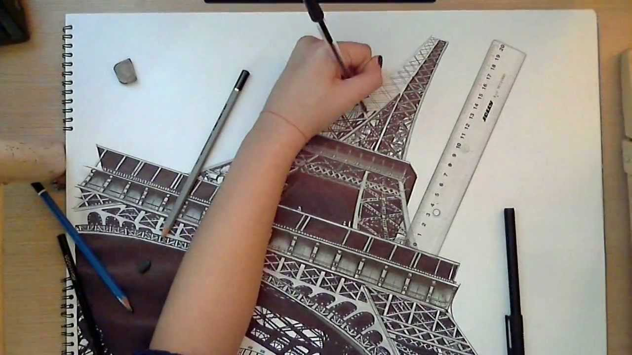 Eiffel Tower Pencil Drawings Simple
