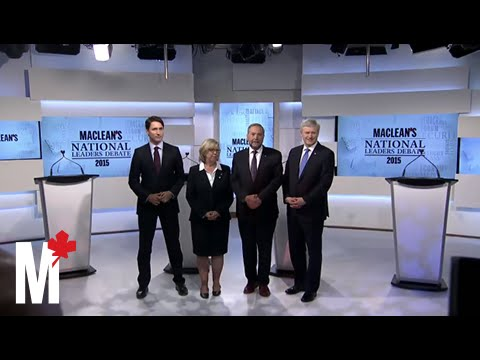 Leaders pose for the cameras: Maclean's debate