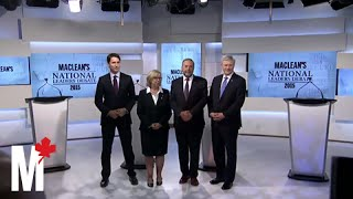 Leaders pose for the cameras: Maclean's debate
