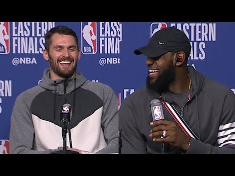 LeBron James & Kevin Love Postgame Interview - Game 2 | Cavaliers vs Celtics | 2018 NBA East Finals