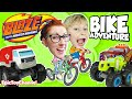 IN REAL LIFE Race with BLAZE AND THE MONSTER MACHINES Family BIKE RIDE & Brinquedos Epic Toy Channel