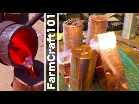 Biggest DIY Copper Melt on YouTube.  60 POUNDS of Copper Into Ingots. FarmCraft101