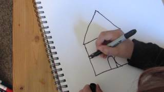 How to draw a haunted house.