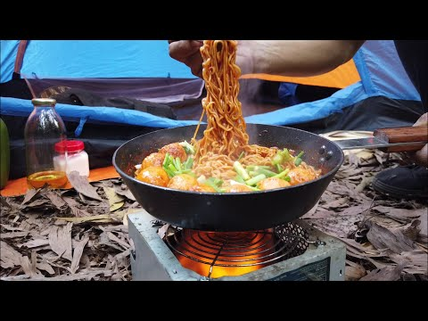 Make spicy noodles for dinner in the forest | Cooking outdoor | Camping
