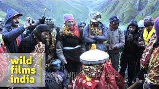 Pilgrims sing devotional songs during Nanda Devi Raj Jat Yatra - Uttarakhand