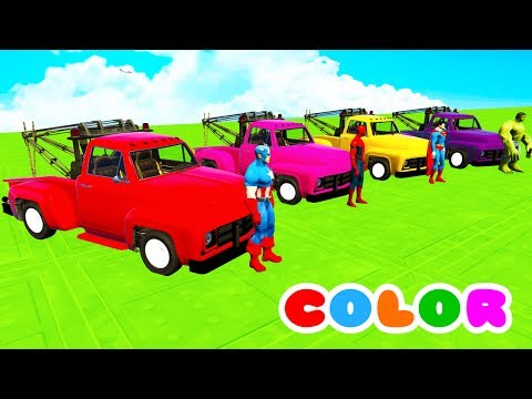 Thumbnail: COLOR Truck & McQueen w/ Superheroes Cartoon for children and baby Nursery rhymes