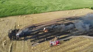 Pożar prasy rolniczej - sprawna akcja gaśnicza