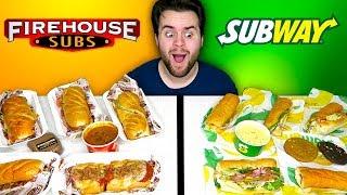 SUBWAY vs. FIREHOUSE SUBS - Fast Food Restaurant Taste Test!