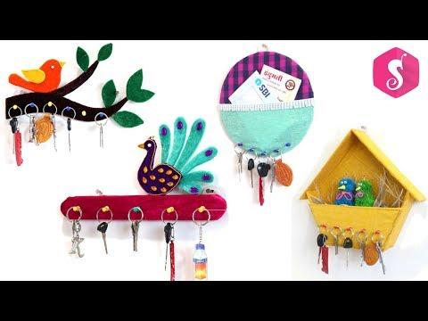 4 KEY CHAIN HOLDER IDEAS from WASTE MATERIALS - #keychainholder #cardboardcraft #SonaliCreations