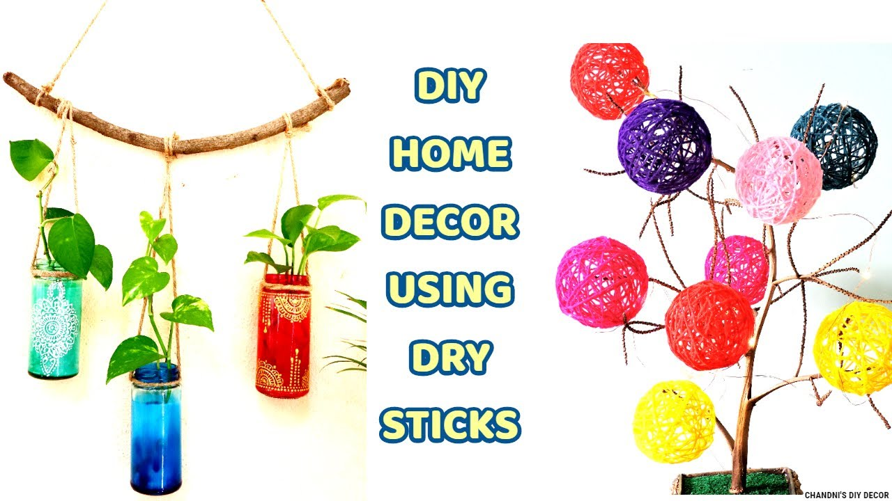 4 Dry Sticks DIY For Home Decor || Easy No Cost Decoration Ideas ||