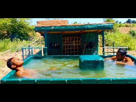 Top Full Video Bamboo House & Worm Swimming Pool.