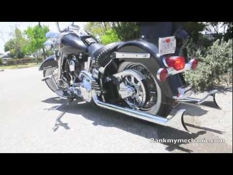 Very Loud Harley Davidson Heritage Softail with True Duals Lowered with lots of chrome.