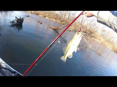 Cold Morning Bass Fishing - Big Piney River, MO