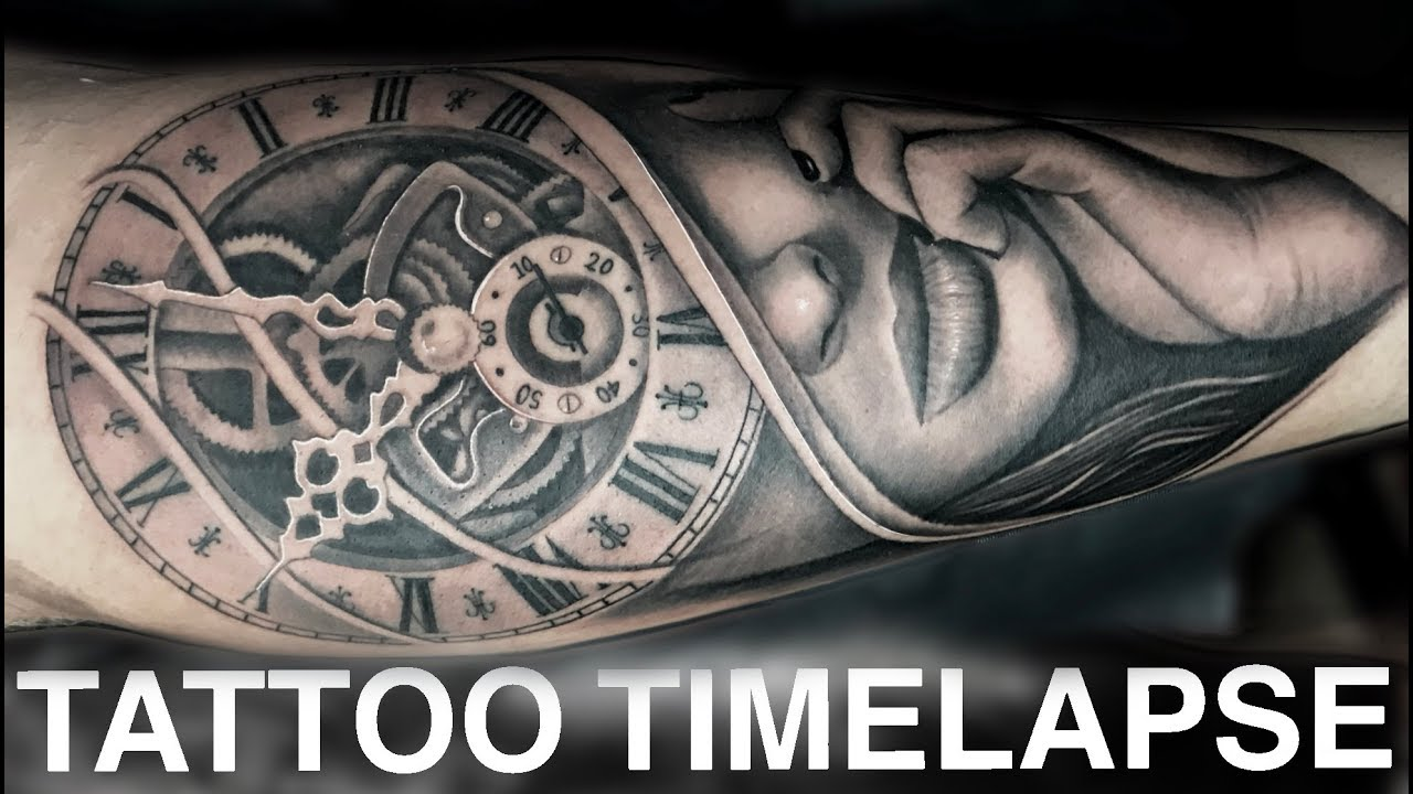 ee0a9dc99ff4e TATTOO TIMELAPSE | WOMAN AND CLOCK PORTRAIT | CHRISSY LEE - YouTube