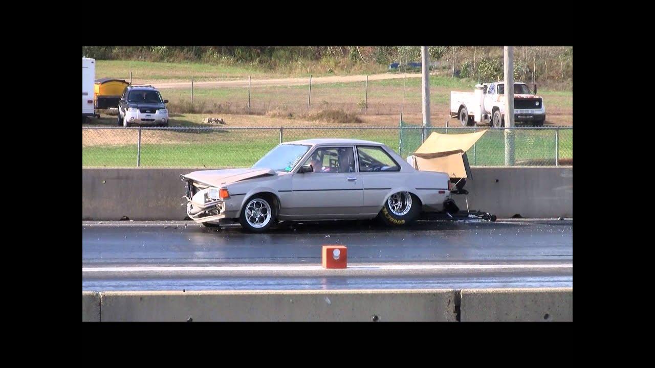 c2f00738630b Old School Supra Powered Corolla Crash at New England Dragway 10 15 ...