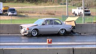 Old School Supra Powered Corolla Crash at New England Dragway 10/15/11