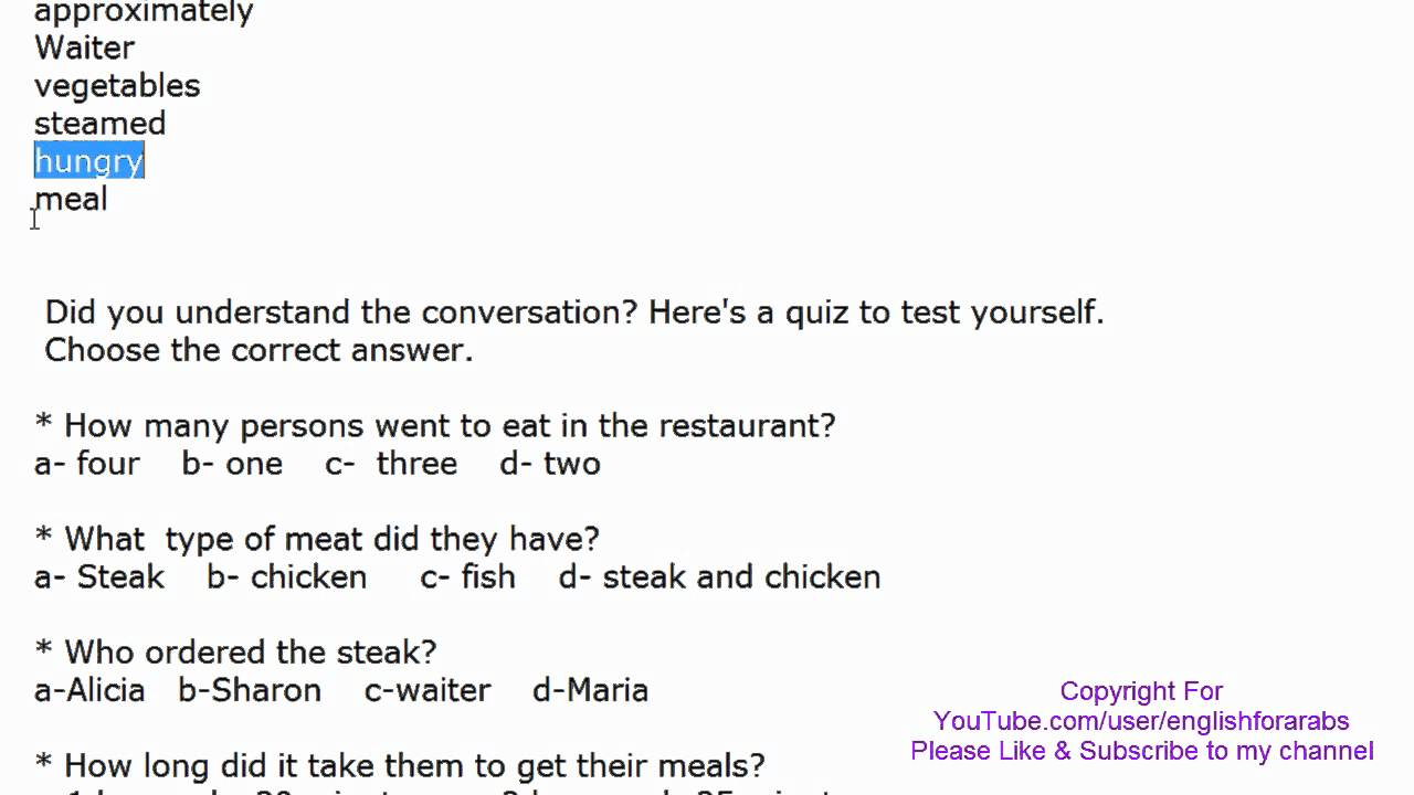 English Conversation with Key words and quiz - In the ...