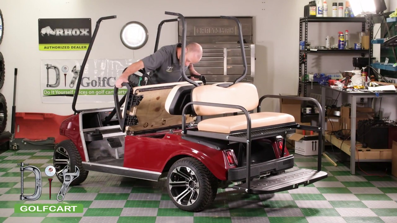 Club Car DS Modz™ All American Rear Seat Kit Installation How-To Red Golf Cart Art on red shopping cart, red push cart, red golf card,