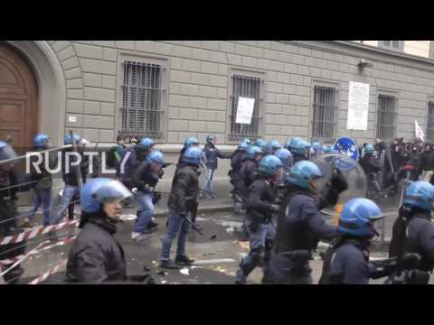 Italy: Fierce clashes in Florence between police and anti-government protesters