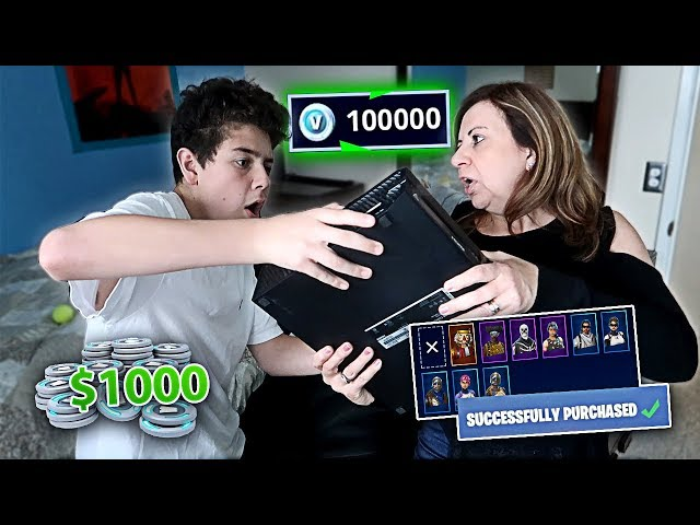 Kid Buys $1,000 Worth of V-Bucks on FORTNITE with Mom's Credit Card (SHE FREAKED OUT)
