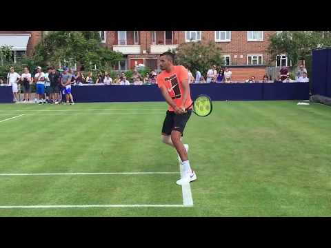 Nick Kygrios practice match vs Thanasi Kokkinakis pre- WIMBLEDON TRAINING 2017