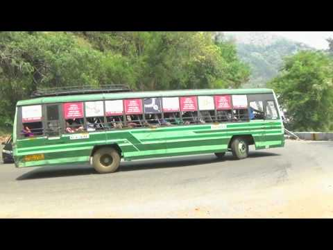 The Bus Travel on the 5/20 Yercaud Hairpin Bend near Salem.