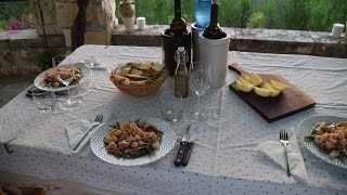 Dinner in Italy Arugula Shrimp Salad, Steak, Garlic Prawns, Peach Melba Cooking Italian with Joe