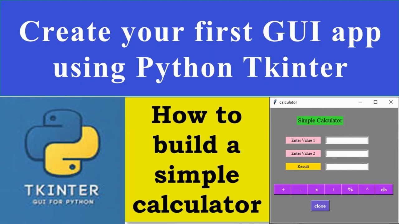 Create simple calculator in Python using Tkinter: GUI tutorial