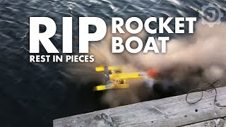 We tested my non-RC, sugar rocket powered, outrigger rocket boat wi...