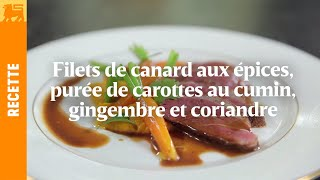 Filets de canard aux épices, purée de carottes au cumin, gingembre et coriandre