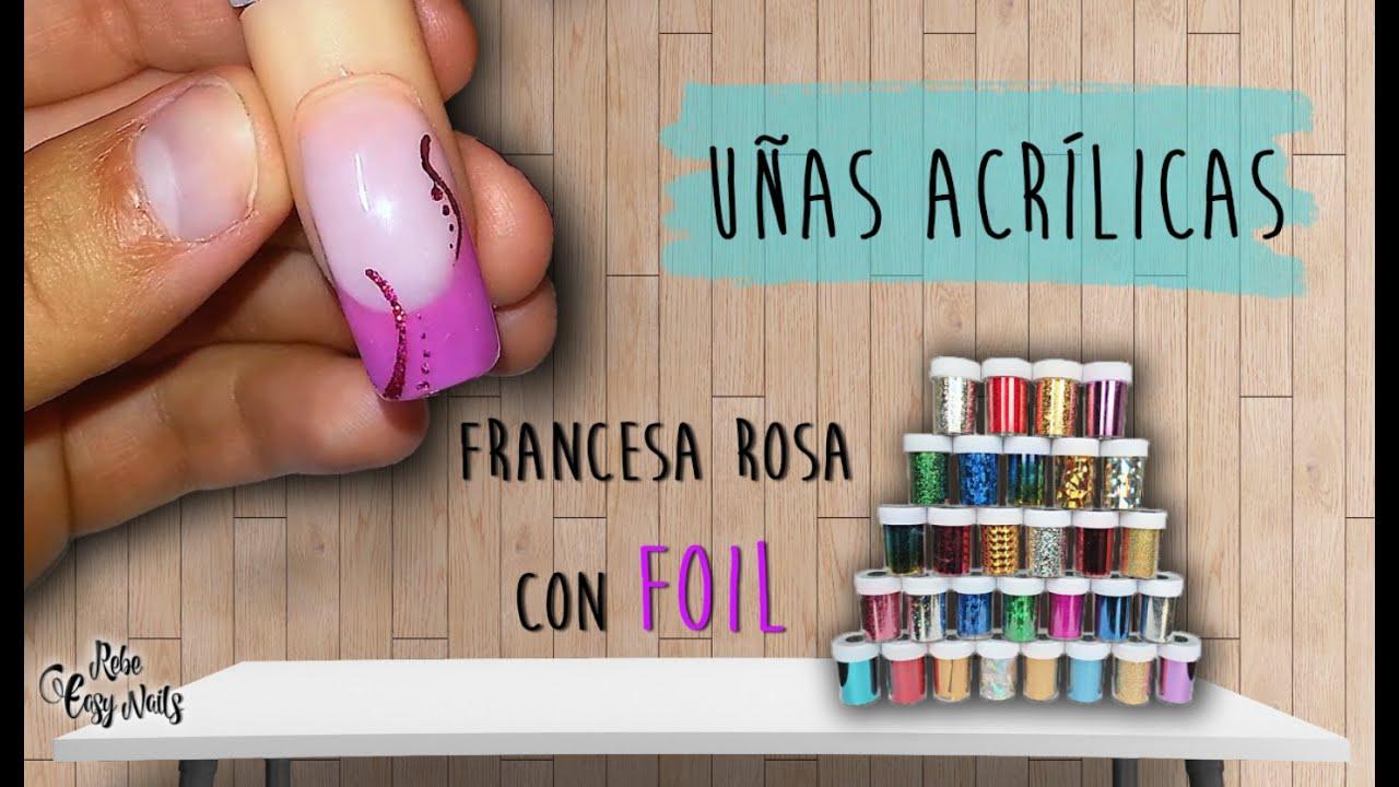 Uñas Acrílicas Rosa con FOIL , Pink Acrylic Nails with FOIL 2016,09,16